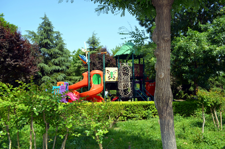 children playground in the middle of a public park