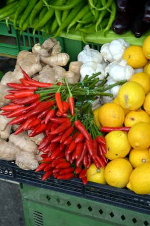 Red Hot Chili Peppers at Naschmarkt in Vienna (Austria) Stock Photo
