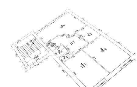 plotter: Appartment floor plan Stock Photo