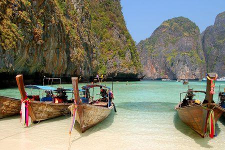 Long tail boat, Leonardo bay, Thailand Stock Photo - 828717