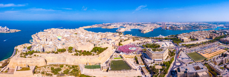 Celebrating labour day in Valletta, Malta. Aerial view on the people crowd celebrating workers day on the 1st of May. 免版税图像