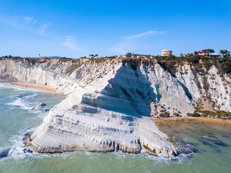 Aerial view Turkish Staircase on Sicily, Italy. Beautiful white cliffs by the sea in Italy. Standard-Bild