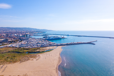 Aerial view of the beach near Catania by the port on Sicily.