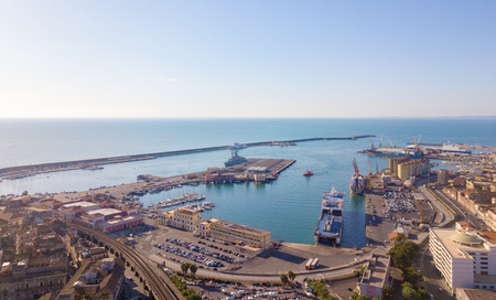 Catania, Sicily. May 10, 2018. Aerial view on the port of Catania which is located next to the old town. Sajtókép
