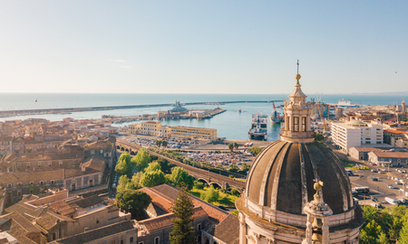 Aerial view on the port of Catania which is located next to the old town.