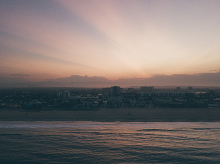 Early morning aerial sunrise view of the Venice beach in Los Angeles, USA.