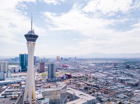 LAS VEGAS - JULY 30: Aerial view of the Stratosphere hotel on July 29, 2014 in Las Vegas, Nevada. Stratosphere hotel is the tallest building in Las Vegas. Editöryel