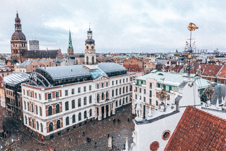 City Hall Square with House of the Blackheads and Saint Roland Statue in Old Town of Riga