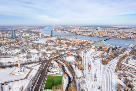 Riga, Latvia, February 14, 2018: Beautiful winter over Riga. View near the victory memorial to Soviet Army in Agenskalns.