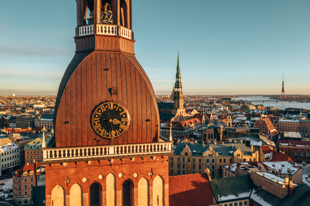 5 January 2019. Riga, Latvia. Beautiful view of the Dome Cathedral in the middle of the old town in Riga, Latvia.