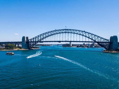 Beautiful view of the harbour bridge view during clear blue sky in Sydney, Australia. April 10, 2016. Sydney, Australia.