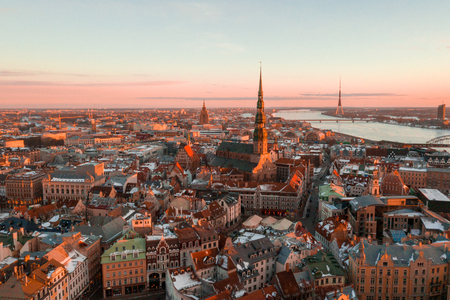 5 January 2019. Riga, Latvia. Beautiful view of the Riga old town during sunny winter day. Reklamní fotografie