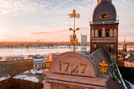 5 January 2019. Riga, Latvia. Beautiful Dome cathedral view with 1727 number, the year it got renovated. Aerial view of the Riga during sunset.
