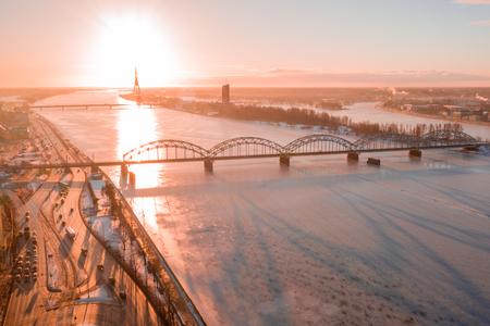 5 January 2019. Riga, Latvia. Aerial winter sunset over Riga old town and river Daugava in Latvia. Reklamní fotografie