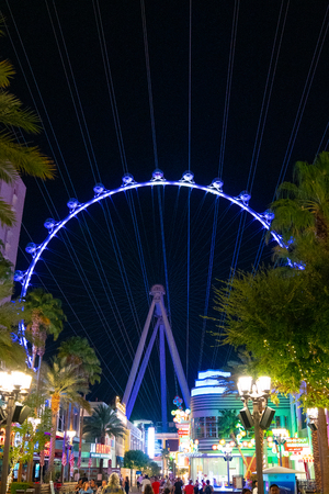 LAS VEGAS - APR 05, 2018 : The Linq, a dining and shopping district and High Roller at the center of the Las Vegas Strip, The High Roller is the world's largest observation wheel.
