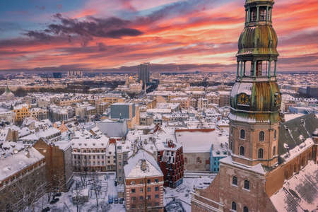 Aerial view of the Riga old town. View of the St. Peters Cathedral.