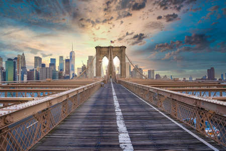 Magical sunset view of the Brooklyn Bridge. Empty bridge with no people during lockdown Stock Photo