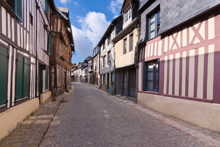 small town life: Old street at Honfleur, Normandie, France Stock Photo