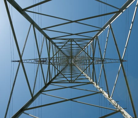 Steel lattice mast of a high voltage line photo
