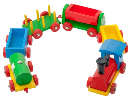 Bunte hölzernes Modell-Eisenbahn mit Dampf-Lokomotive und waren-Wagen Standard-Bild - 9826884