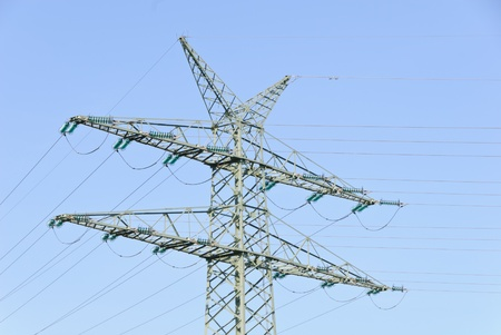 voltage gray: Tension tower with traverses of a high-voltage line