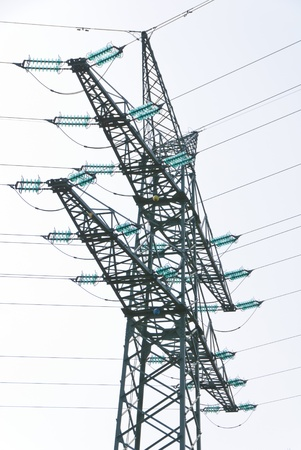 three phase: Tension tower with traverses of a high-voltage line