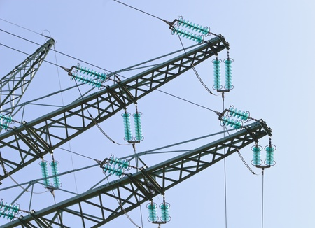 Traverses at a tension tower of a high-voltage line Stock Photo - 13284985