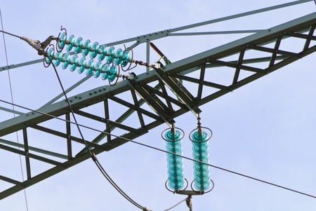 Traverse and insulators at a tension tower of a high-voltage line Stock Photo - 13284981
