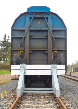 boxcar train: Covered goods wagons on sidings with buffer stops