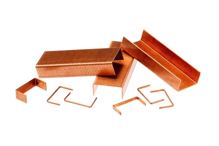 copper coated: Staples, isolated on white background
