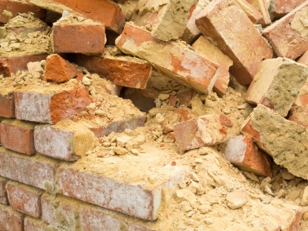 clinker: Remains of a wall and construction debris with bricks  and mortar of a brick wall Stock Photo