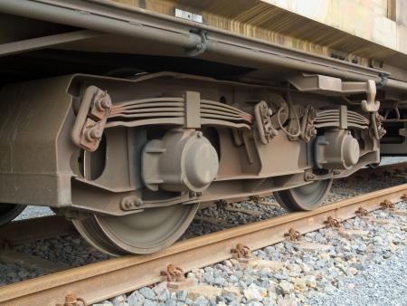 Drehgestell eines Güterwagens mit Rahmen, Blattfedern, Räder und Achslager Lizenzfreie Bilder