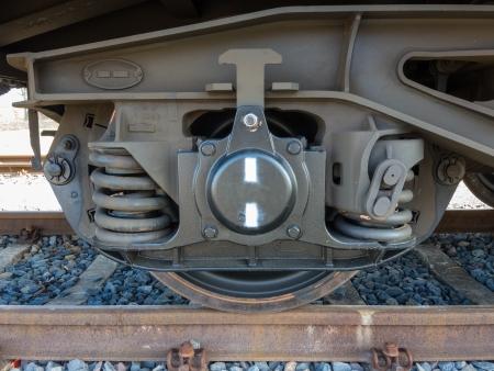 Bogie eines Güterwagens mit Rahmen, Federn, Räder und Achslager Lizenzfreie Bilder - 19029411
