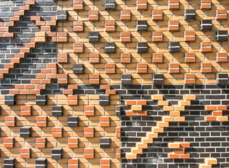 clinker: Wall with brick ornaments on the Dalmannkaipromenade, HafenCity Hamburg Stock Photo
