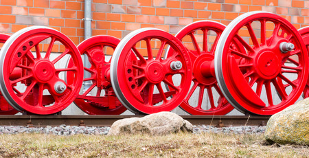 spoked: Wheels of a steam locomotive Stock Photo