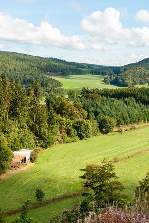 Mit Blick auf das Tal zwischen den Bergen Bromberg und Winterkopf in Medebach, Sauerland