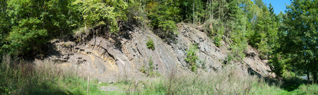 rock strata: Rock face in quarry at Borghagen in Duedinghausen, district of Medebach in the Hochsauerland Stock Photo