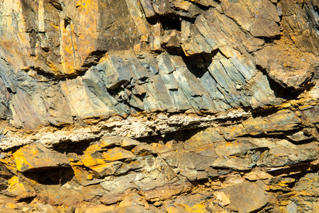 rock strata: Details of rock layers in the quarry at Borghagen in Ddinghausen, District of Medebach in the Hochsauerland