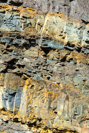 rock layers: Details of rock layers in the quarry at Borghagen, Ddinghausen, District of Medebach in the Hochsauerland Stock Photo