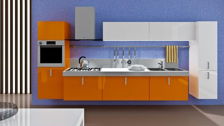A modern kitchen interior. Made in 3d Stock Photo - 5511834