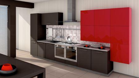 azulejos cocina: Un interior de la cocina moderna. Hecho en 3D Foto de archivo