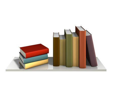 Color books with blank covers standing on the wall bookshelf Stock Photo