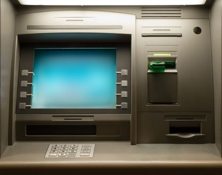 Night shot of a Cash Machine close-up photo