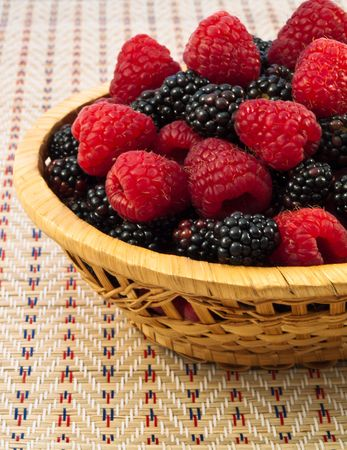 Fresh Raspberry and Blackberry in basket. Close-up photo