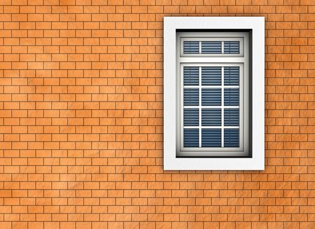 Window on the background of brick wall. Made in 3D