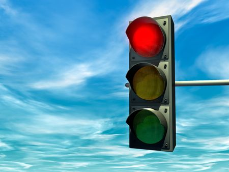 red traffic light: City traffic light with a red signal Stock Photo