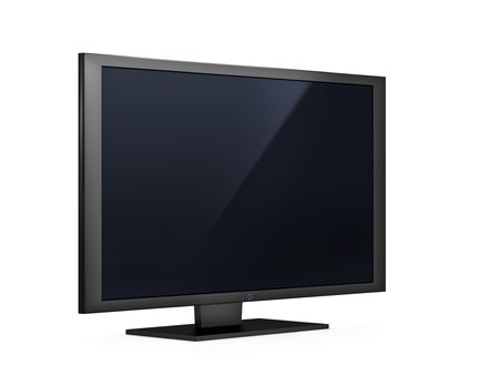 isolated high end silver flat LCD television Stock Photo - 5538137
