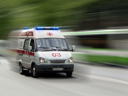 road to recovery: The ambulance car hastens for the aid
