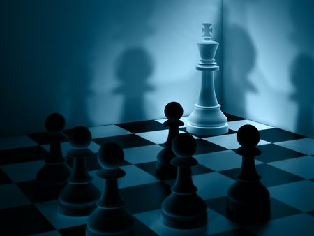 Chessmen show a desperate situation