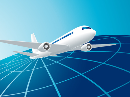 Vector illustration of global travel by the plane Vector
